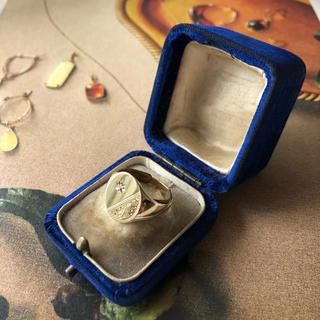アンティーク シグネットリング ダイヤモンド 9金 イギリス ホールマーク入り(リング(指輪))