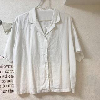 ジーユー(GU)のgu リネンブレンド オープンカラー シャツ(シャツ/ブラウス(半袖/袖なし))