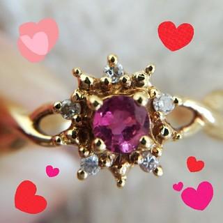 ★*゚18k 10号 ルビーダイヤモンドリング(リング(指輪))