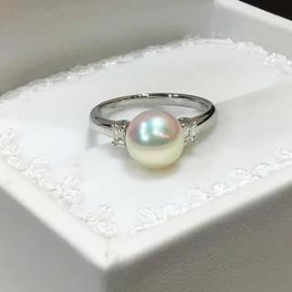 シャルロット様専用☆プラチナ あこや真珠/ダイヤ リング(リング(指輪))