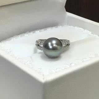 プラチナ 黒蝶真珠/ダイヤ リング(リング(指輪))