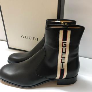 グッチ(Gucci)のGUCCI グッチストライプレザーブーツ(ブーツ)