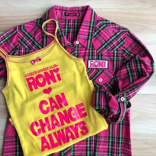 ロニィ(RONI)の【最終値下げ】☆RONI☆ ラメチェックシャツ&キャミタンクset サイズL(ブラウス)