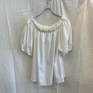 ローズバッド(ROSE BUD)のROSE BUD ローズバッド 袖メッシュラインブラウス ホワイト 美品(シャツ/ブラウス(半袖/袖なし))