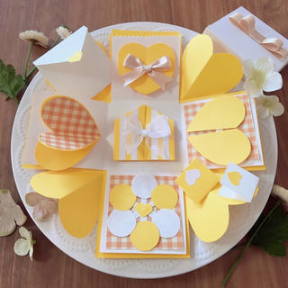 レモン色♡プレゼントボックスセット*(型紙/パターン)