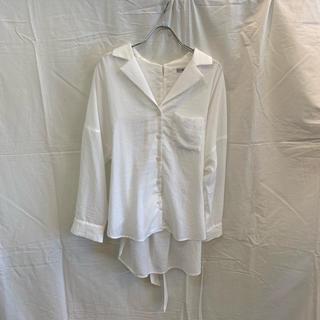ローズバッド(ROSE BUD)のROSE BUD ローズバッド 2WAYリボン開襟シャツ ホワイト 美品(シャツ/ブラウス(長袖/七分))