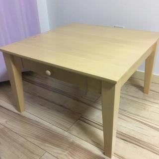 引き出し付きスクエア型ローテーブル 60×60×38(ローテーブル)