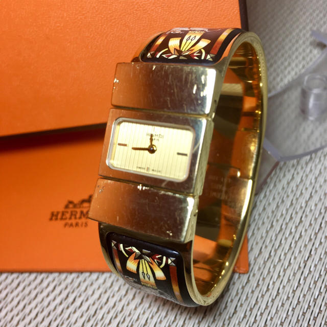 Hermes - エルメス 腕時計 ロケ 七宝焼き ゴールド バングル Hウォッチ 【H15】の通販 by 即購入okです^_^|エルメスならラクマ