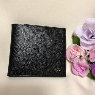 クリスチャンディオール(Christian Dior)の☆正規品☆Dior☆ゆうき様専用☆2つ折り財布 レザー ブラック 美品(折り財布)