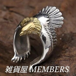 送料無料28号クロムシルバーワンポイントゴールドビッグメタルイーグルリング指輪(リング(指輪))