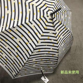 スヌーピー(SNOOPY)の【新品】SNOOPY スヌーピー  紺×山吹色 ドット 長 傘 ボーダー(傘)