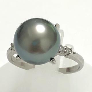 お値打ち品!  11mm 黒蝶 真珠 黒蝶パール ダイヤモンド リング 指輪(リング(指輪))