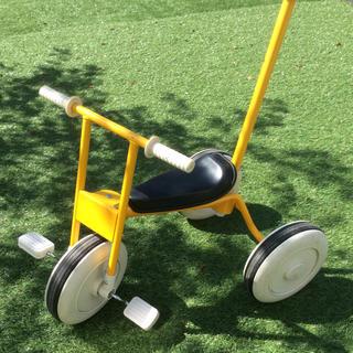 ムジルシリョウヒン(MUJI (無印良品))の三輪車・舵取り棒付き イエロー(三輪車)