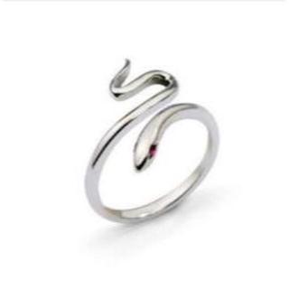 指輪 リング シルバー 蛇 スネーク 鏡面 ストーン 金運 開運 赤目(リング(指輪))