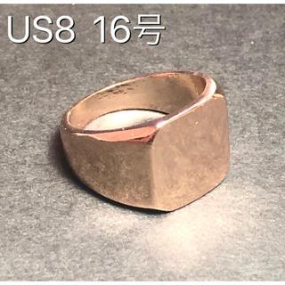 ★新品 印台 ゴールドリング鏡面 スクエア 男性 リング 指輪(リング(指輪))