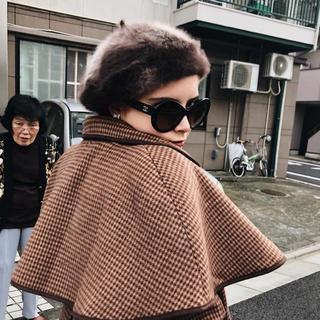 ロキエ(Lochie)のmohair fur béret brown epine(ハンチング/ベレー帽)