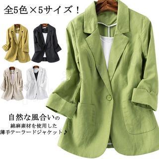 サマージャケット レディース リネンジャケット テーラードジャケット 七分袖 シ(テーラードジャケット)