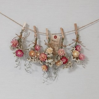 ボリューム貝細工と小花の彩りスワッグドライフラワーガーランド/ホワイト&ピンク (ドライフラワー)