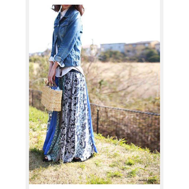 antiqua(アンティカ)のアンティカ antiqua モダンな柄合わせテクニック。フレアリブロングスカート レディースのスカート(ロングスカート)の商品写真