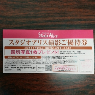スタジオアリス撮影ご優待券 有効期限20.8.31(その他)