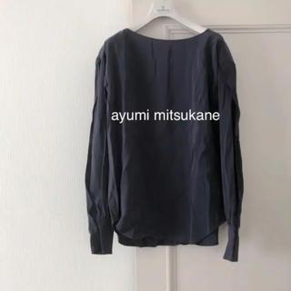 カミシマチナミ(KAMISHIMA CHINAMI)のayumi mitsukane 袖スリット ブラウス ネイビー(シャツ/ブラウス(長袖/七分))