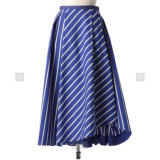 ドゥロワー(Drawer)の2019SS ドゥロワー Drawer ブルー ストライプフレアスカート 34(ロングスカート)