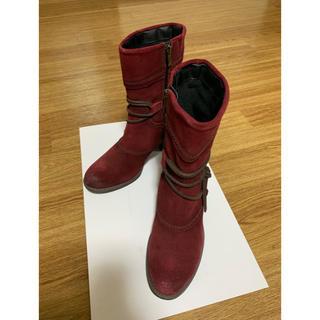【美品】バックスキン風ショートブーツ 赤 39/25.5cm(ブーツ)