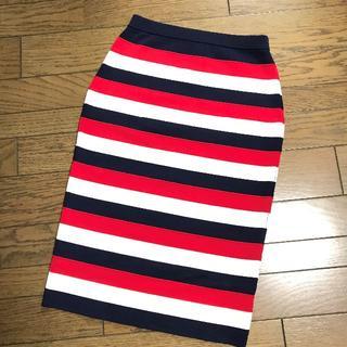 ルシェルブルー(LE CIEL BLEU)のルシェルブルー トリコロールカラーストレッチニットボーダー膝丈スカート(ひざ丈スカート)