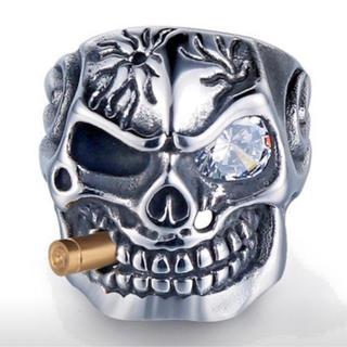 ゴシックパンクリング skull with Bullet 13inch(リング(指輪))