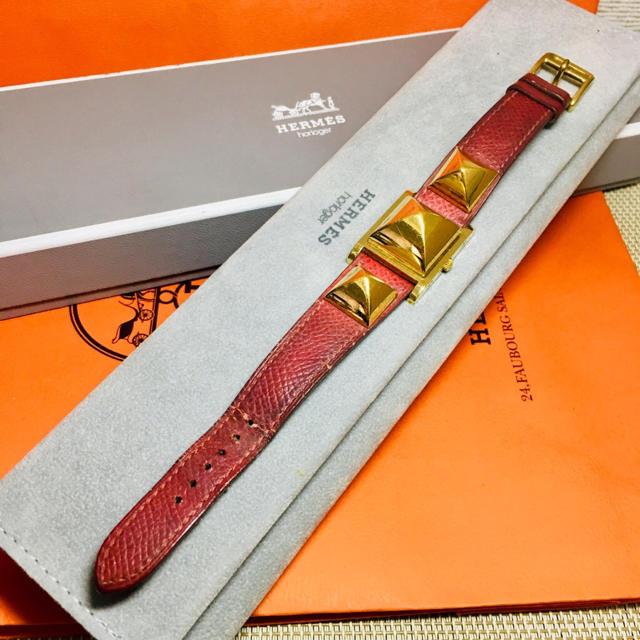 Hermes - エルメス 腕時計 メドール レッド レディース バングル ブレス 腕時計 正規品の通販 by 即購入okです^_^|エルメスならラクマ