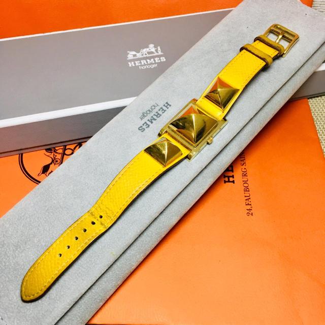 Hermes - エルメス 腕時計 メドール イエロー レディース バングル ブレス 時計 正規品の通販 by 即購入okです^_^|エルメスならラクマ