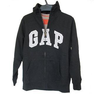 ギャップ(GAP)の新品タグ付●140cm GAP 黒裏起毛ロゴフルジップパーカー(ジャケット/上着)