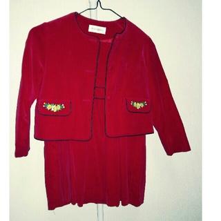 イヴサンローランボーテ(Yves Saint Laurent Beaute)の超美品 イブサンローラン 120 赤 ワンピース 女児 ジャケット 秋冬 子供服(ワンピース)