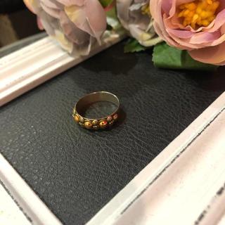 【vintage】シルバー ゴールド デザインリング 18号 レディース(リング(指輪))