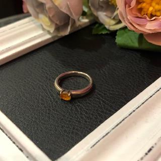 【vintage】シルバー925 カラーストーン リング オレンジ レディース(リング(指輪))