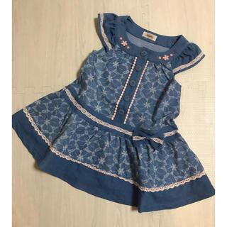 スーリー(Souris)のスーリー souris 刺繍プリント デニム ジャンパースカート 100(ワンピース)