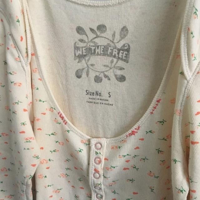 EDIT.FOR LULU(エディットフォールル)の花柄サーマルカットソーベージュ古着vintageloch レディースのトップス(カットソー(長袖/七分))の商品写真