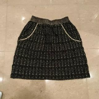 ツモリチサト(TSUMORI CHISATO)のツモリチサト スカート ニット 黒 ゴールド ラメ ウール パーティー レース(ひざ丈スカート)