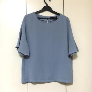 ジーユー(GU)のGALLORIA グロリア くすみブルーTブラウス 新品未使用(シャツ/ブラウス(半袖/袖なし))