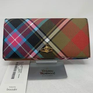 ヴィヴィアンウエストウッド(Vivienne Westwood)の未使用☺︎Vivienne Westwood 長財布 チェック カーキ オーブ(財布)
