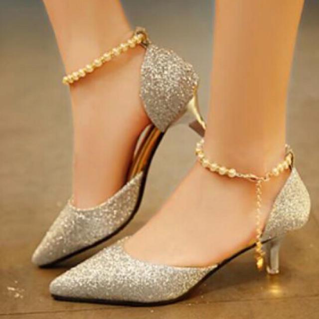 ヒールパンプス シルバー (ヒール高 5センチ) レディースの靴/シューズ(ハイヒール/パンプス)の商品写真