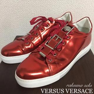 ヴェルサーチ(VERSACE)の激レア VERSACE ヴェルサーチ メンズ スニーカー 派手 光沢 赤(スニーカー)