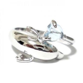 17号 ドルフィン イルカ ブルートパーズ ハート シルバーリング(リング(指輪))