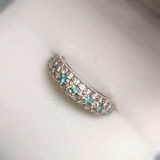 パライバトルマリン ダイヤ パヴェリングK 18クーポン期間限定お値下げ(リング(指輪))