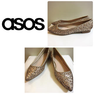 エイソス(asos)のASOS ゴールドグリッター フラットパンプス(ハイヒール/パンプス)