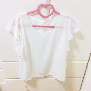 アーバンリサーチ(URBAN RESEARCH)のシフォントップス 白 ホワイト カットソー(シャツ/ブラウス(半袖/袖なし))