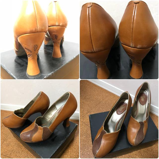 ANNA SUI(アナスイ)のアナスイ レザー カットワーク パンプス ハイヒール 厚底 太ヒール レディースの靴/シューズ(ハイヒール/パンプス)の商品写真