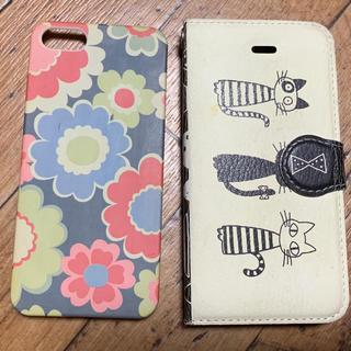 iPhone SE、5s用のスマホケース 猫柄とマリメッコ風の2個セット(iPhoneケース)