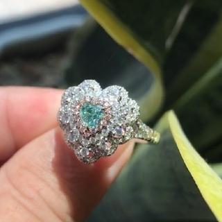 GIA♡ハートシェイプF.Bluish.Greenダイヤモンドリング(リング(指輪))