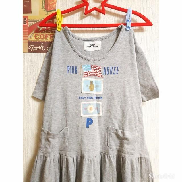 PINK HOUSE(ピンクハウス)のBabyPINKHOUSE ピンクハウス 120 女の子 Tシャツワンピース古着 キッズ/ベビー/マタニティのキッズ服 女の子用(90cm~)(ワンピース)の商品写真